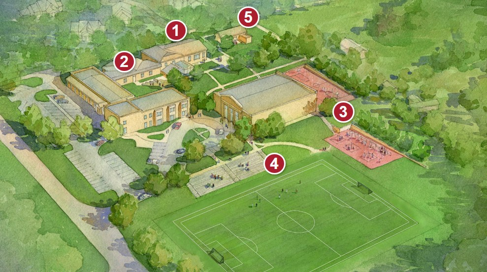 capital campaign rendering of campus after renovations and additions