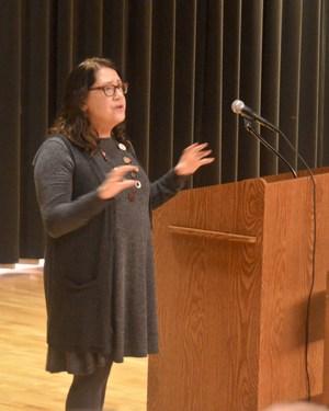 Ms. Dowd at the podium speaking.