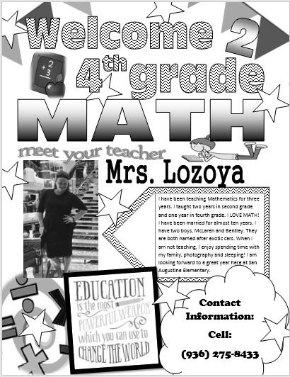 Math letter to students and parents to meet their teacher.