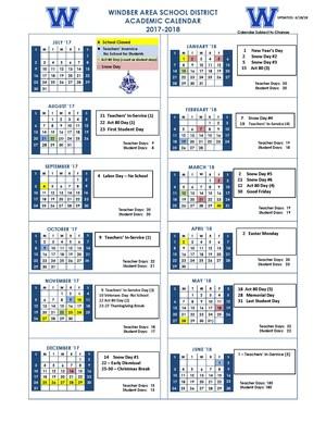 Updated 2017-18 Calendar