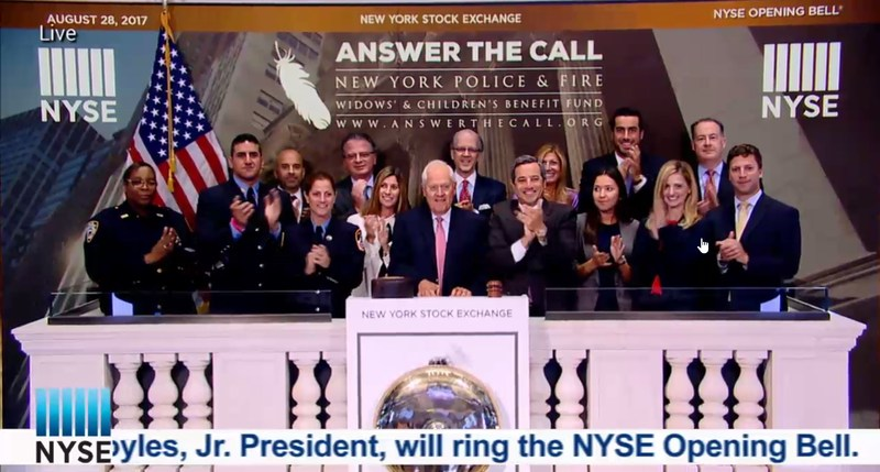 St. Dominic alumnus Stephen Dannhauser '68 rings the opening bell at the NYSE for The NY Police and Fire Widows' & Children's Benefit Fund Featured Photo