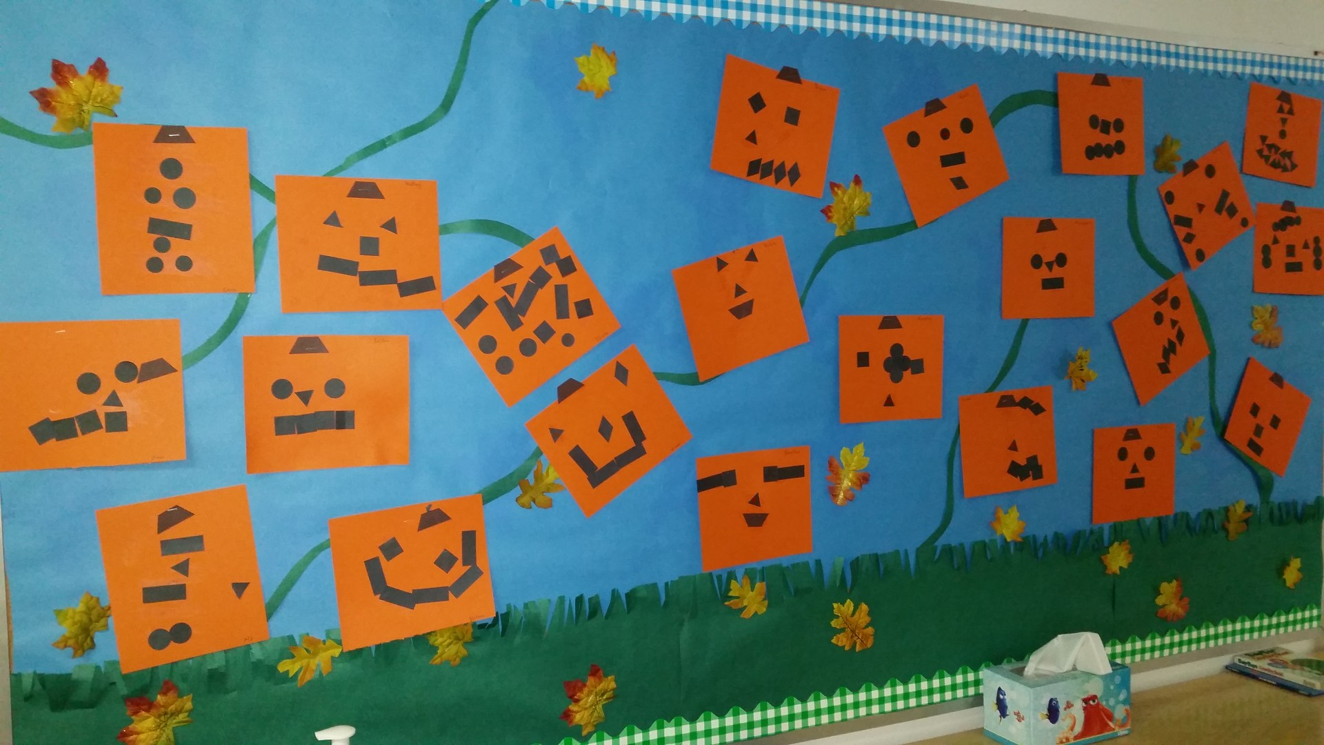 Our Pumpkins after reading Spookley the Square Pumpkin.