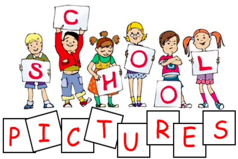 This is a picture of students holding up signs that say SCHOOL PICTURES.