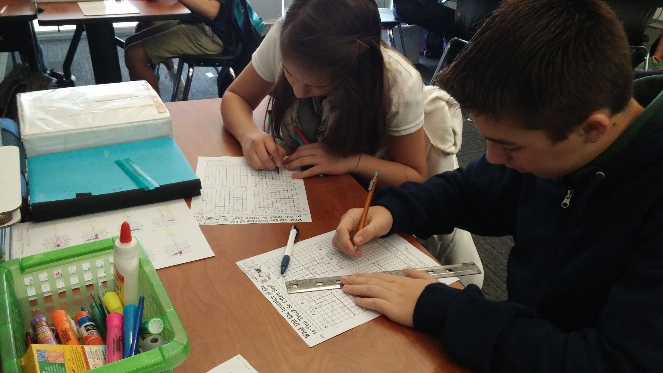 Students working on graphing linear equations