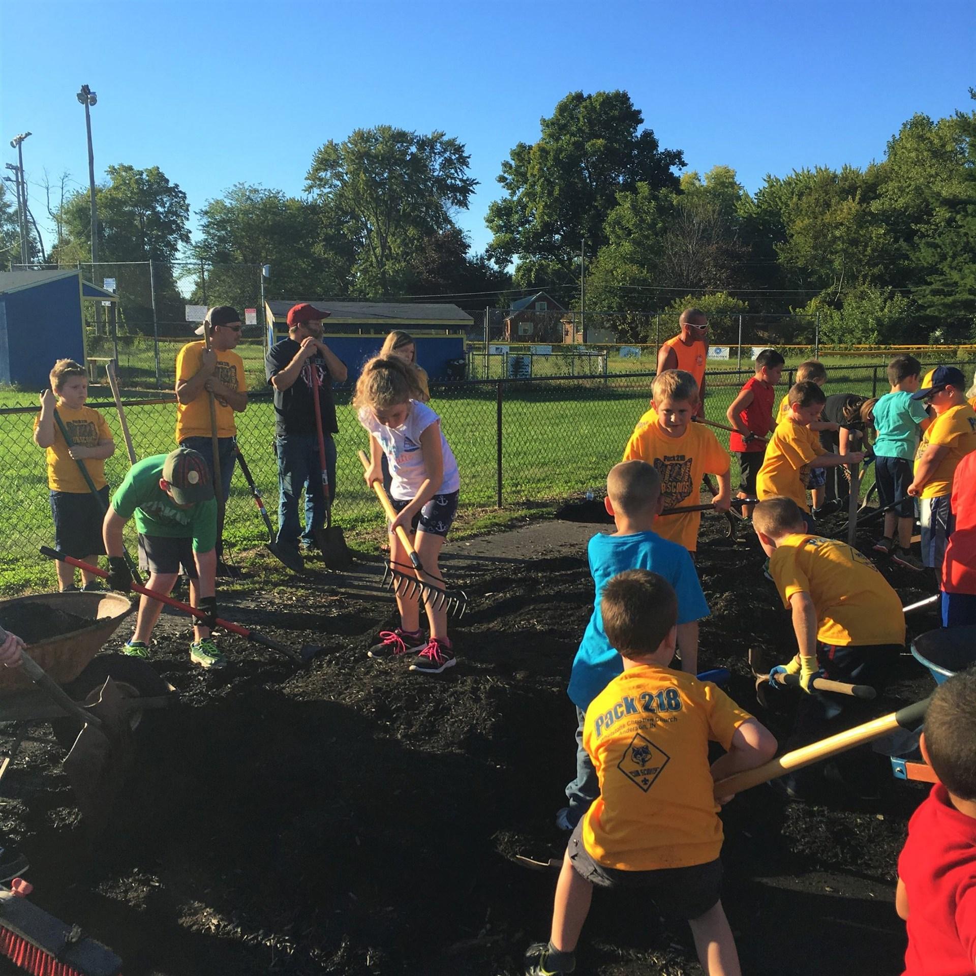 Students Gardening at Southview Preschool
