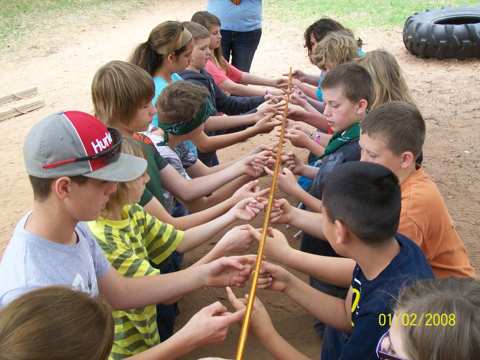 Students working on team building exercise at Camp Grady Spruce