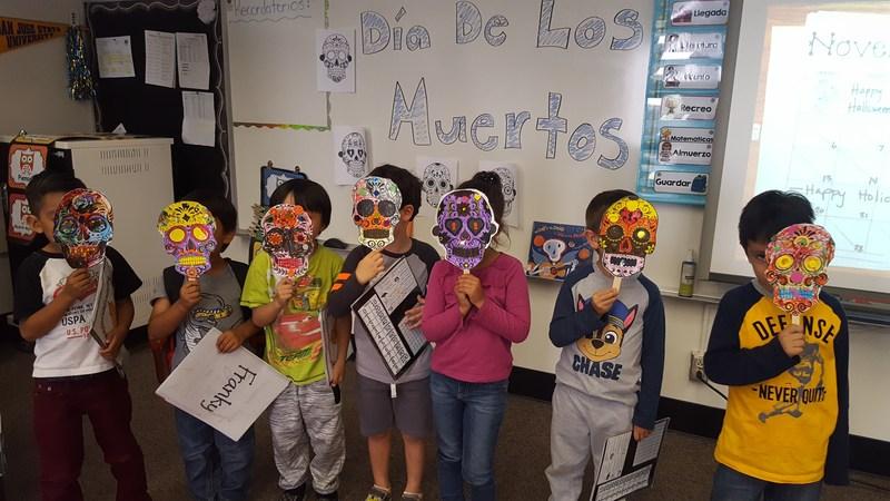 Kinder students on Dia de los Muertos!