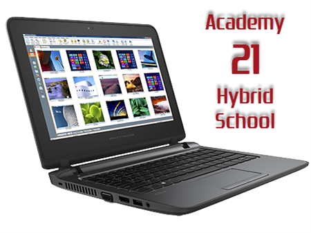 open laptop with text Academy 21 Hybrid School