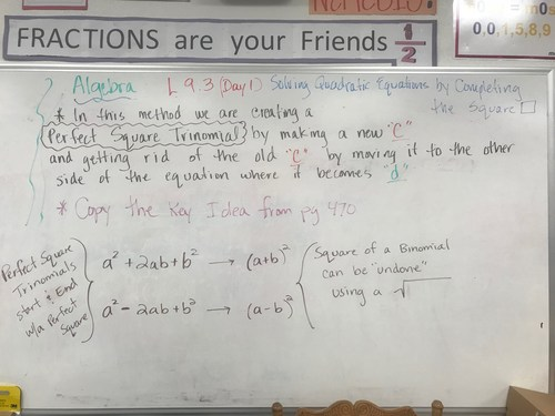 Algebra Lesson 9.3 Day 1 Completing the Square