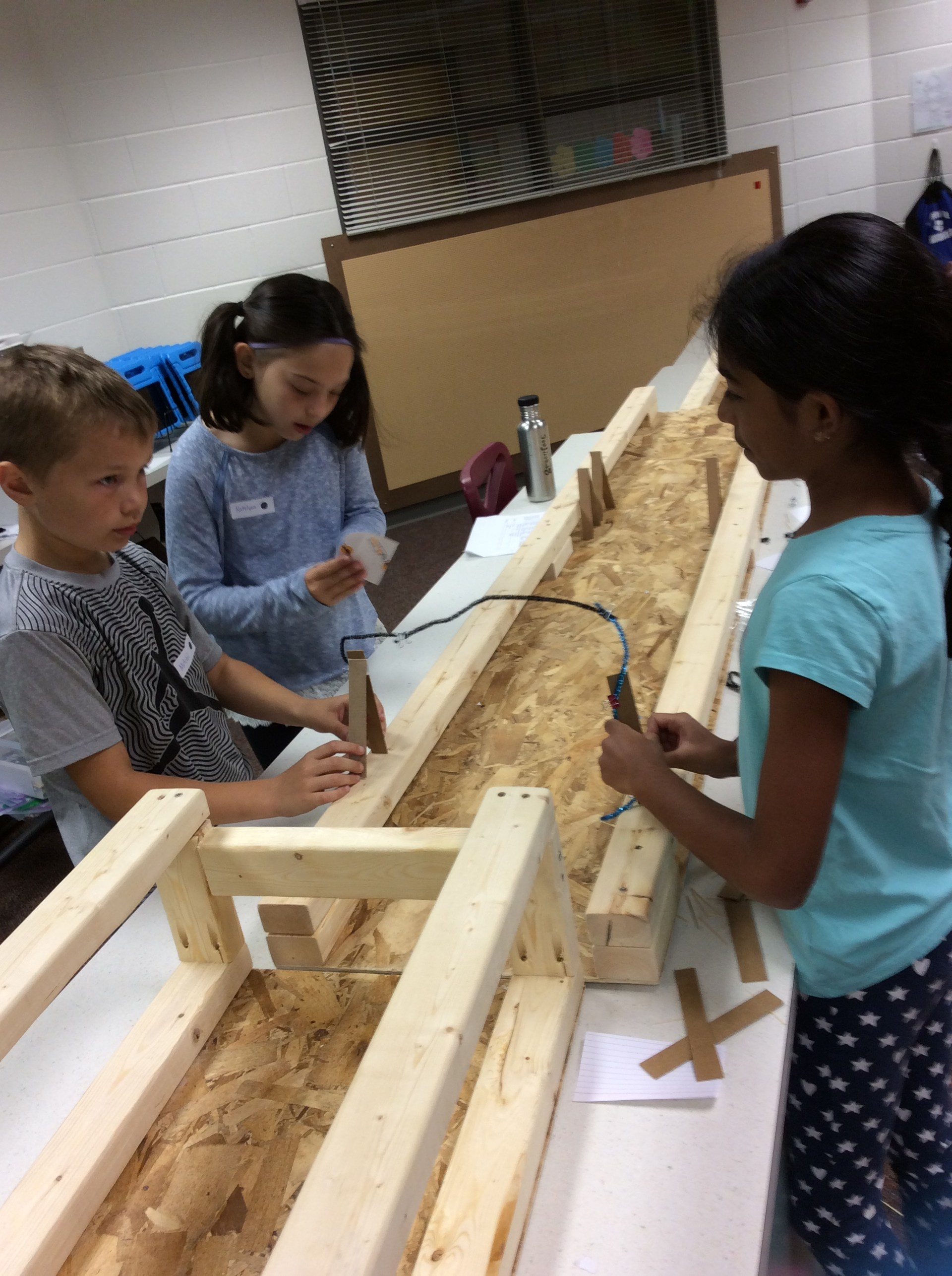 Students doing a bridge building challenge