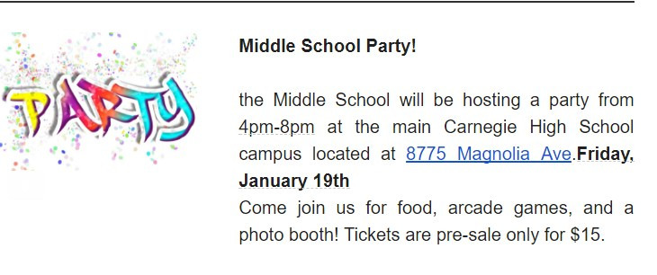 Middle School ASB Party Featured Photo