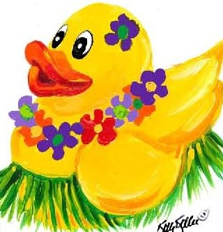 Picture of a yellow duck with a hawaiian lei.  Signed by Kitty Keller.