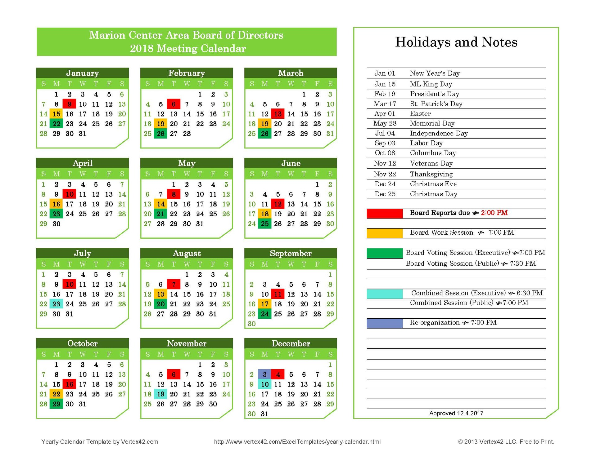 Calendar of Monthly Board Meetings