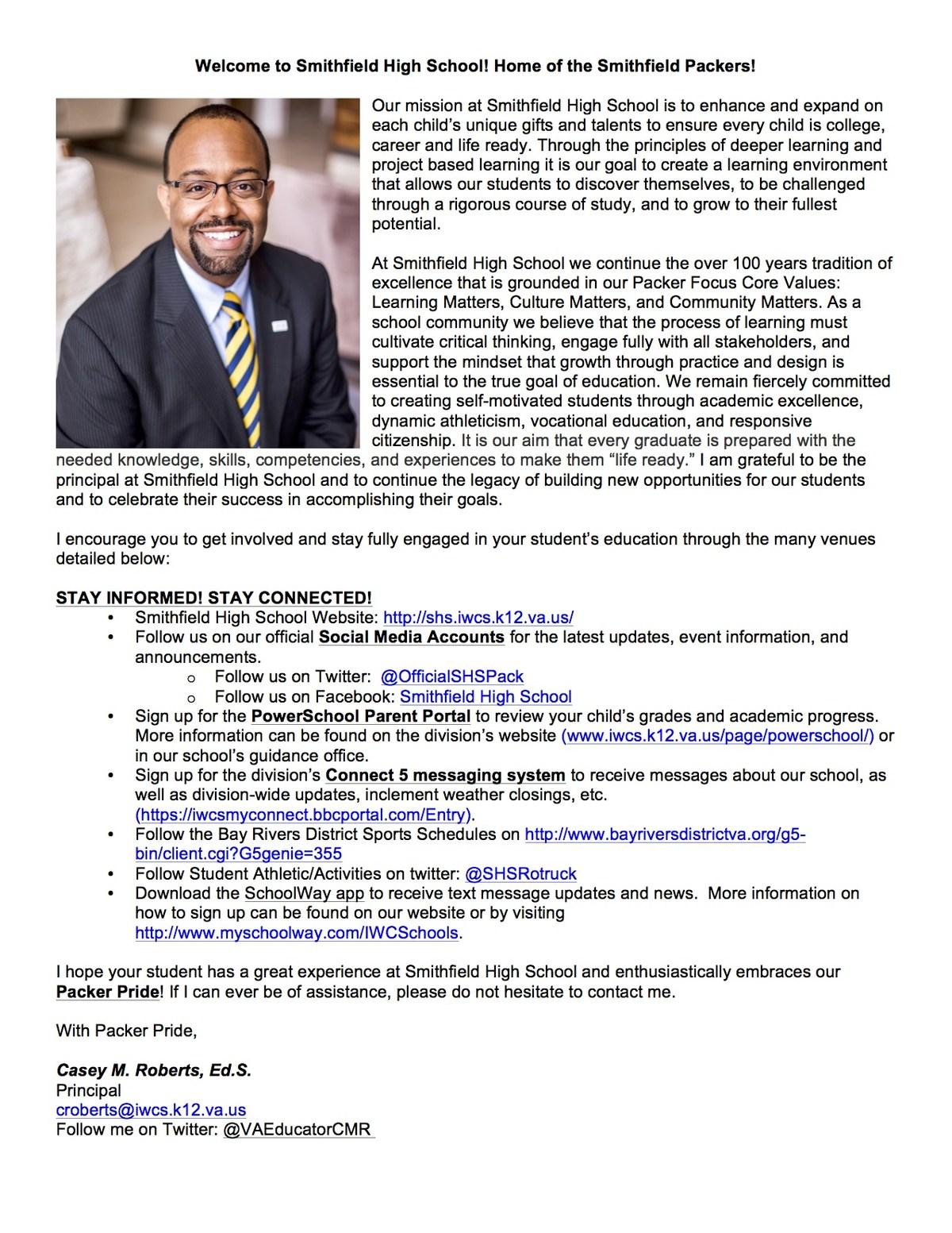 principal message 2017 2018