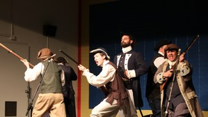Actors performing a George Washington play at Whittier Elementary