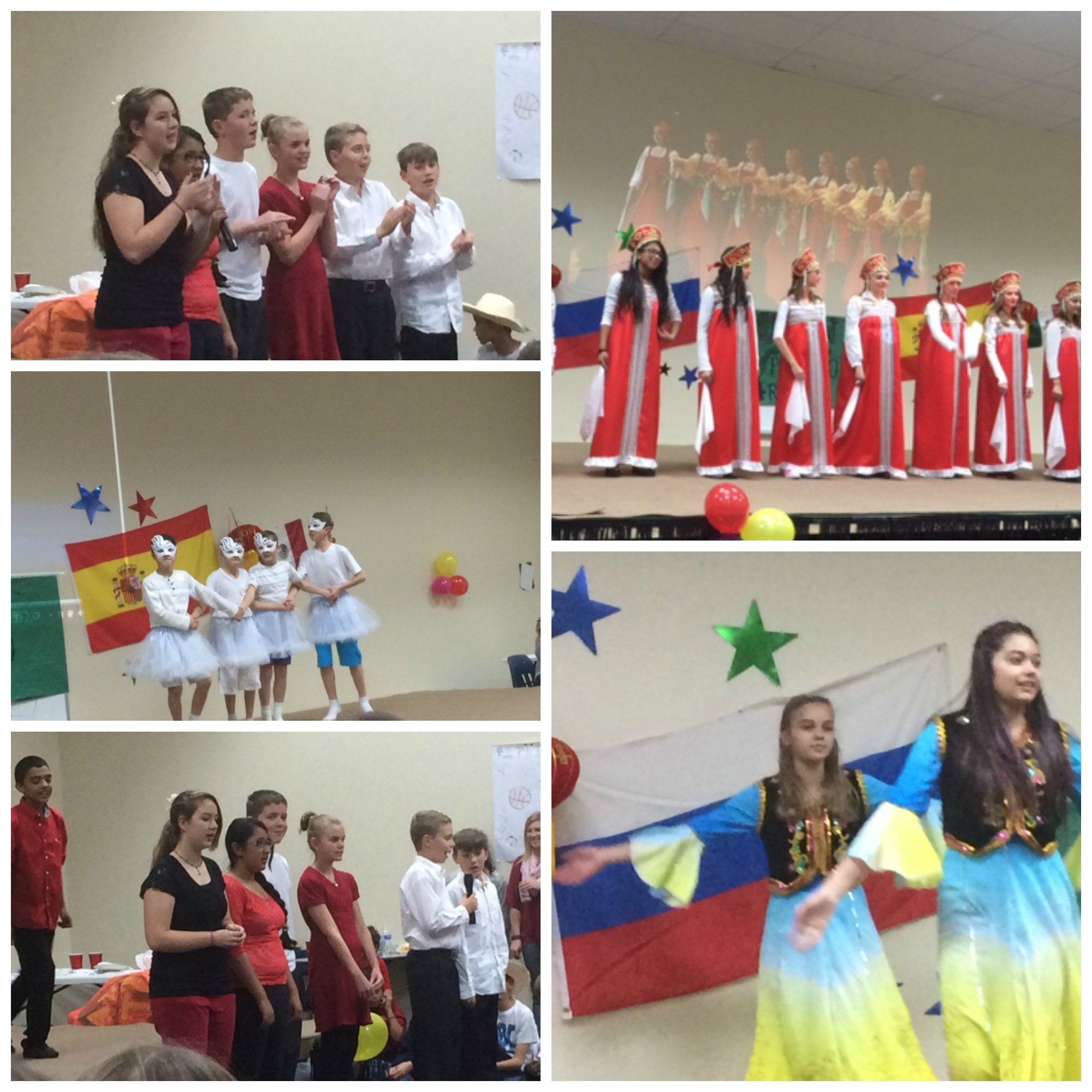 Five photo collage showing boy and girl students in traditional dress and singing during a Russian Culture performance