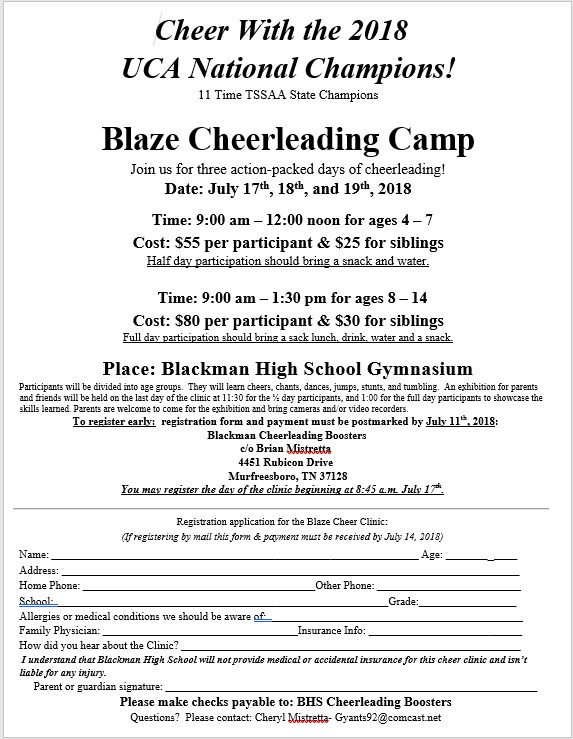 Summer Youth Cheer Camp at BHS Thumbnail Image