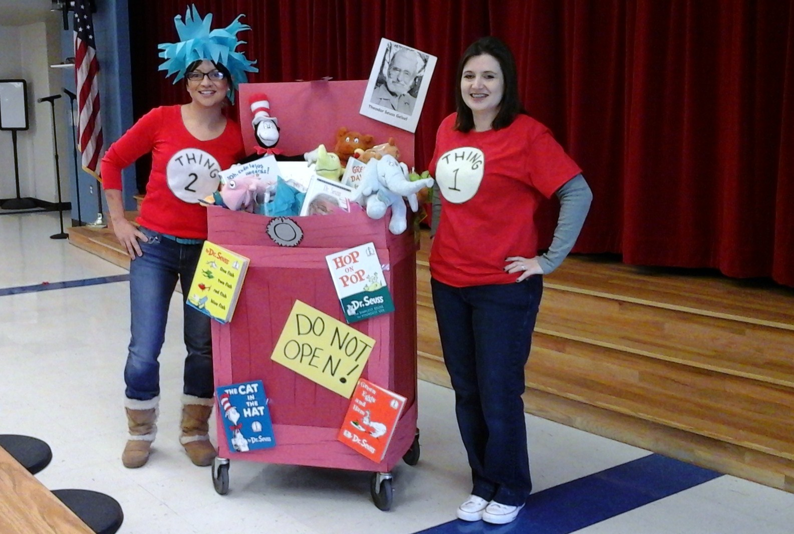 Librarian and library clerk dressed up for Dr. Seuss week.