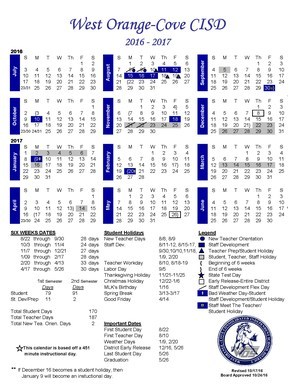 Academic Calendar for the 2016-2017 school year