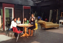 San Gabriel students (l-r) Carolina Garcia, Brizeth Lomeli, Alina Hurtado, Chelsey Tran, and Uyen Sy rehearse for the female version of The Odd Couple, the spring dinner theatre production at San Gabriel High School.