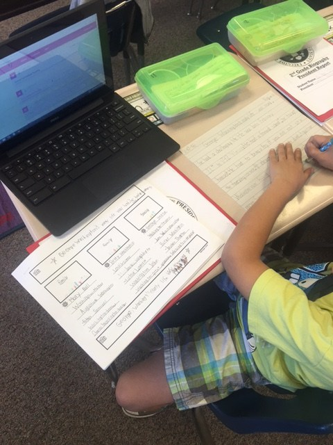 Students use thinking maps to organize their writing.