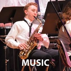 music student playing saxaphone