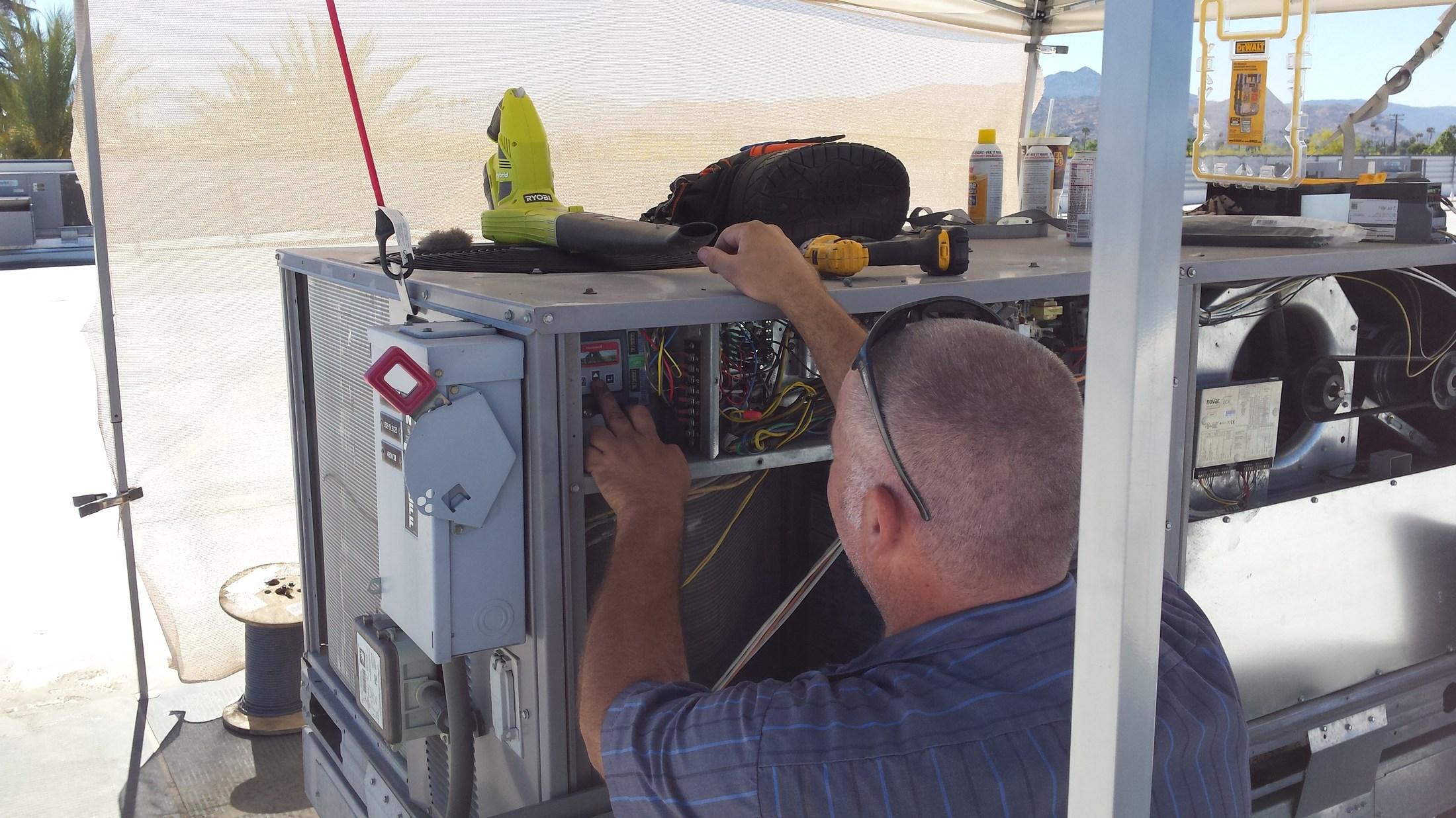 HVAC Technician hard at work