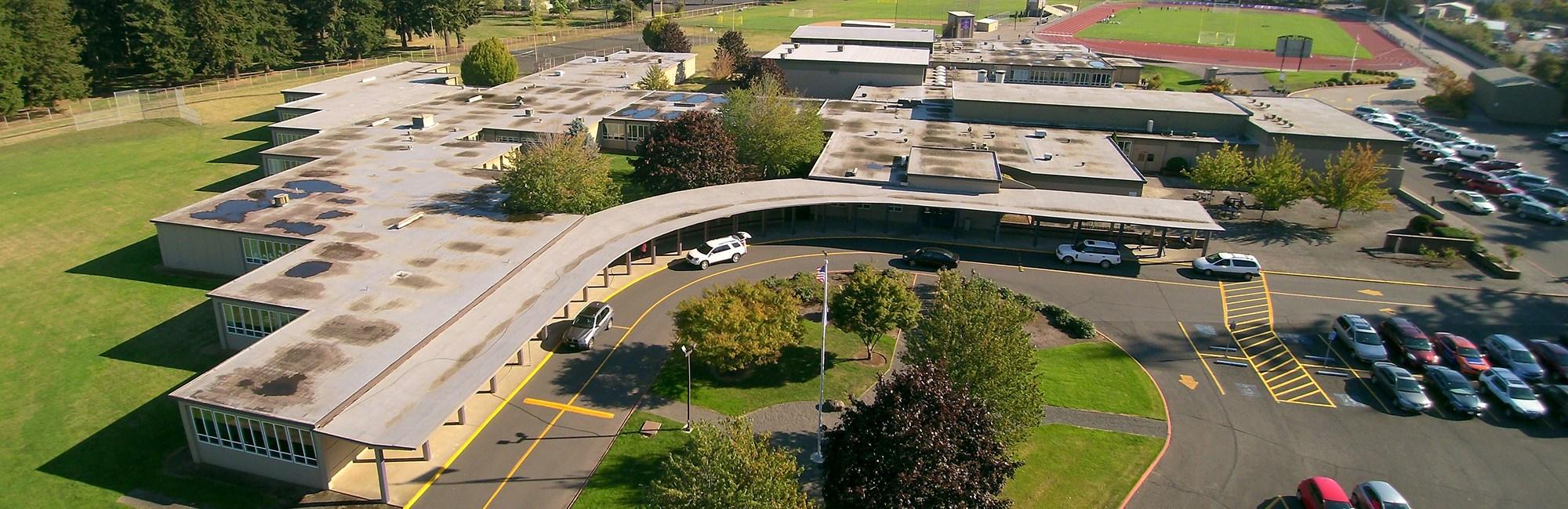 Aerial view of San Rafael campus