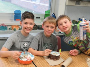 Students created their own bowls in art class and then celebrated with an ice cream party.