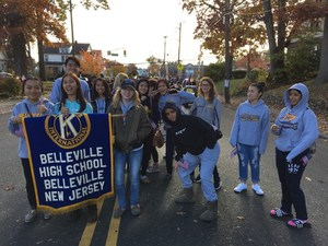 From left to right: BHS students Charlize Bulusan, Han Tri, Andres Pasuizaca, Isabel Viterbo, Katrina Dizon, Chiarize Bulusan, Venisse Abanilla, Asmaa Embaby, Alyssan Welter, Naomi Hiraldo, Ruqaya Embaby march in the Veterans Day Parade