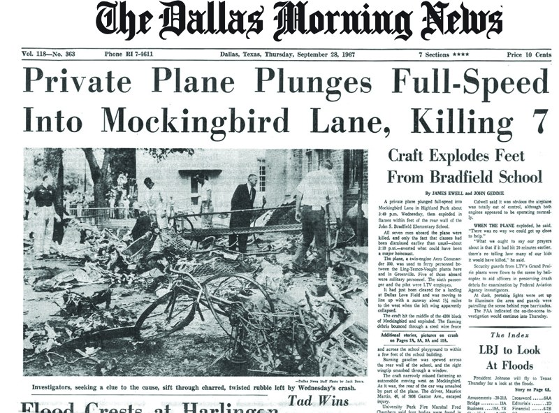 The Dallas Morning News report on the disaster that killed all seven passengers onboard