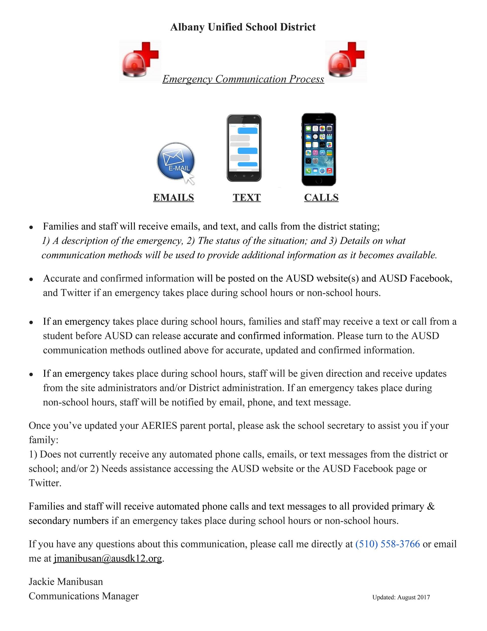 Emergency Communication Process Updated