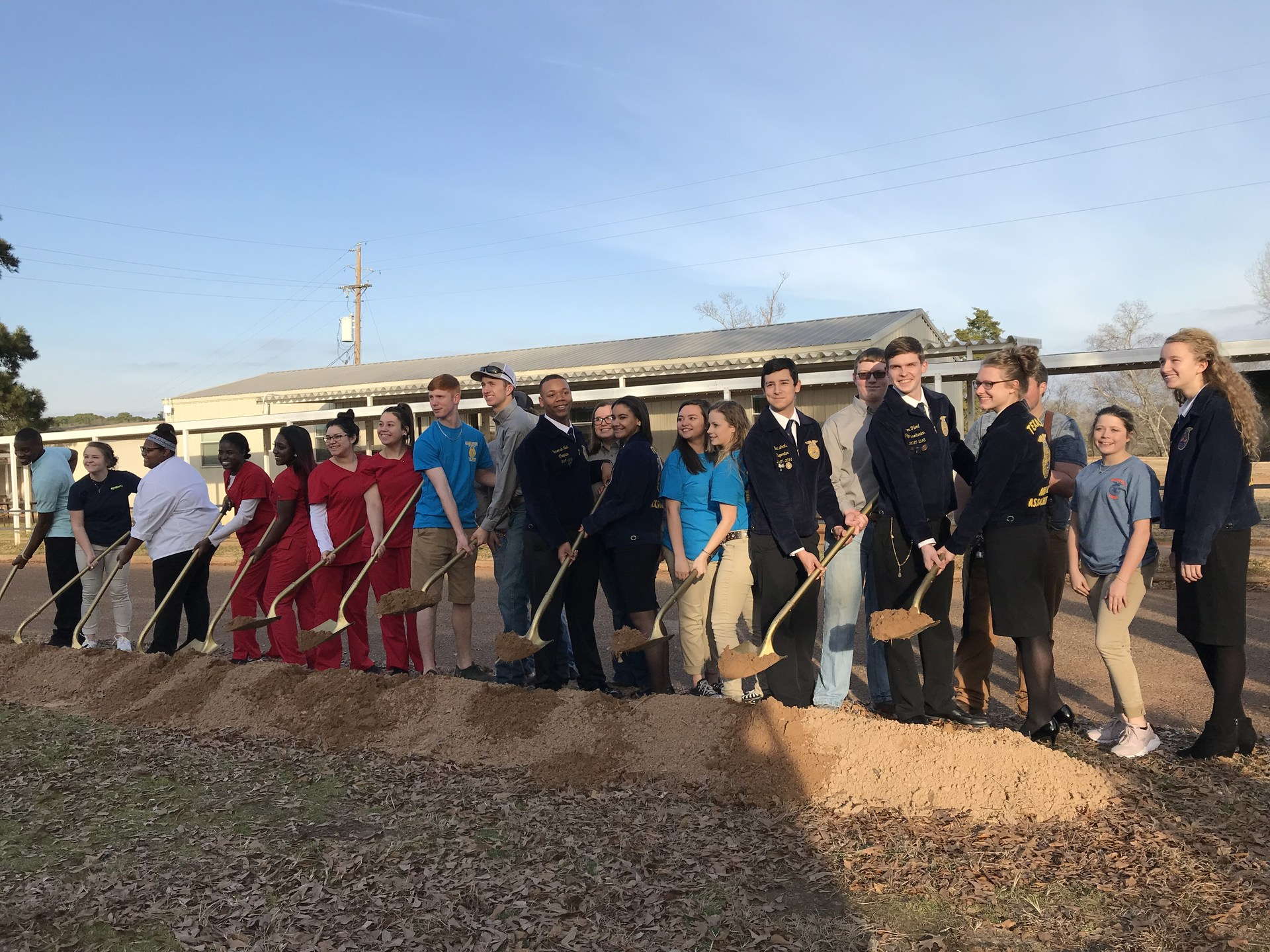 students at groundbreaking for cte