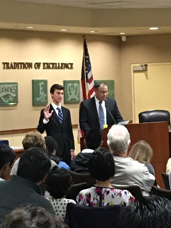 student school board representative sworn in