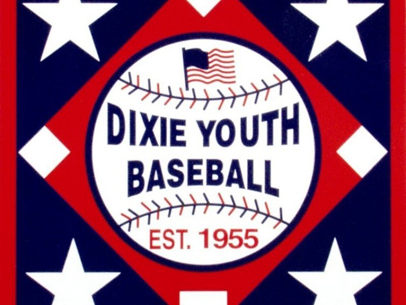 Dixie Youth Baseball Logo pictuer of a baseball with stars surrounding it