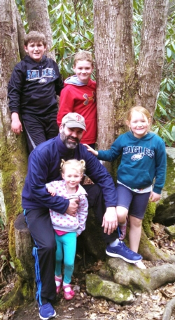 picture of Mrs. Fernetti's family hiking at South Mountain.