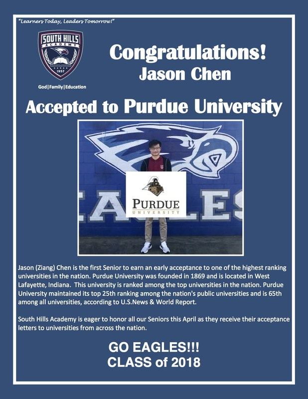 Congratulations JASON CHEN for Early Acceptance to PURDUE UNIVERSITY! Featured Photo