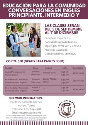 Conversational English Classes flyer Spanish version