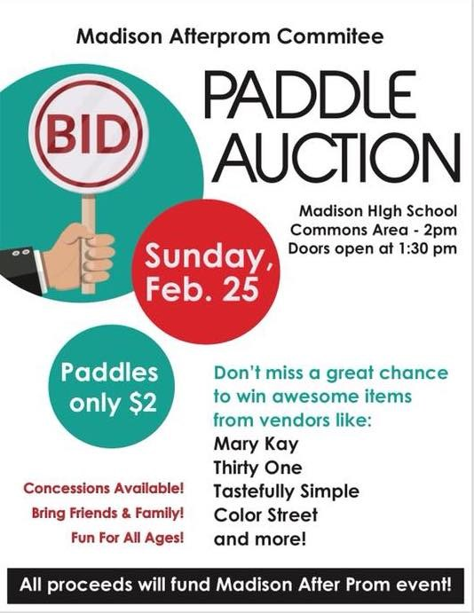 Afterprom Paddle Auction flyer