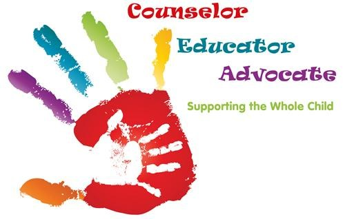 handprint alongside the words 'Counselor,' 'Educator,' 'Advocate.'