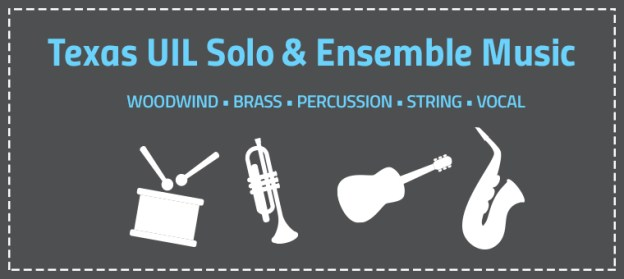 Texas Solo and Ensemble text with out instrument white outlines.