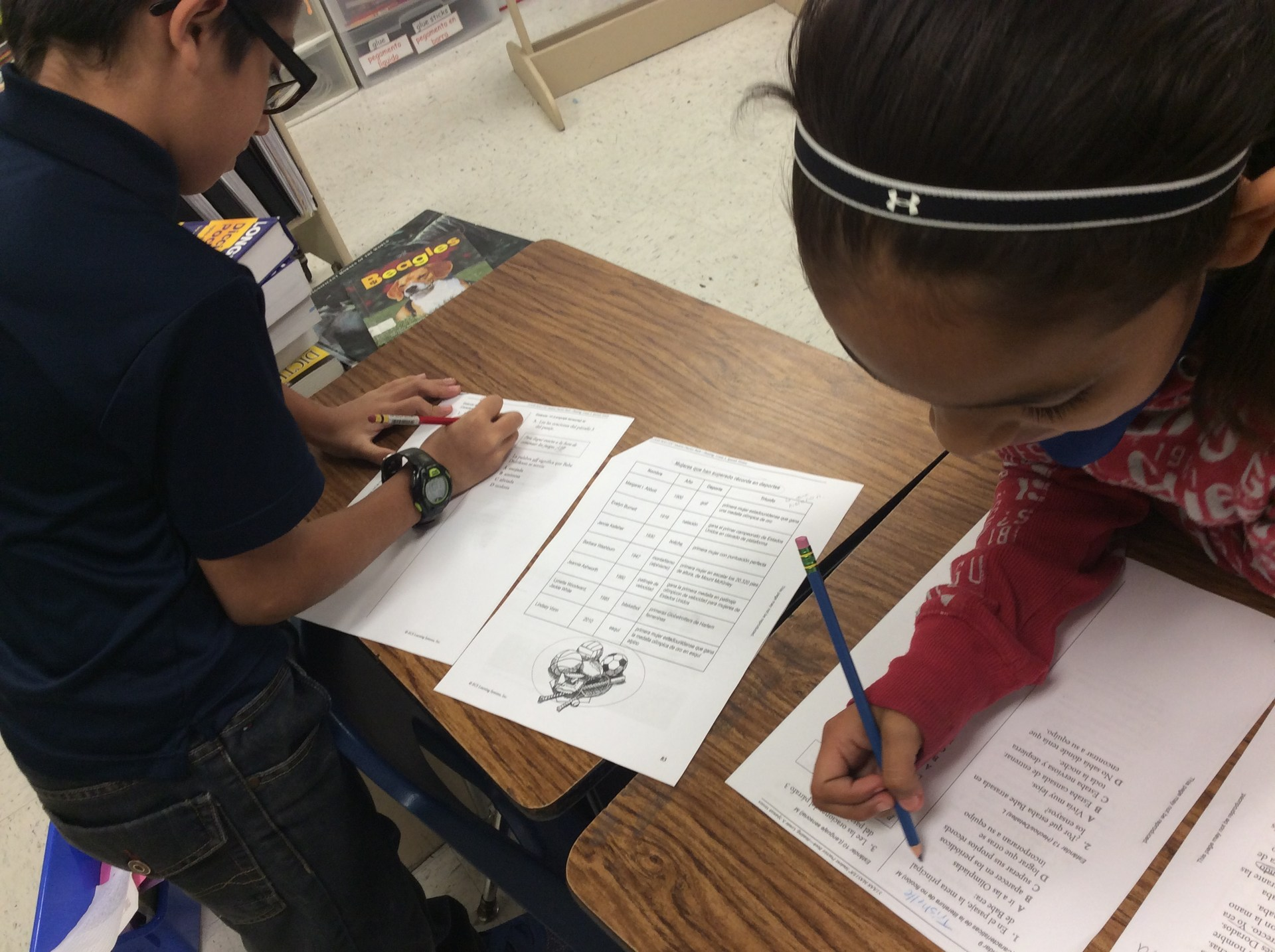 Students working in bilingual pairs.