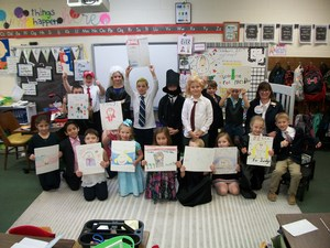 Students dressed as judges, congressmen, congresswomen, and presidents.