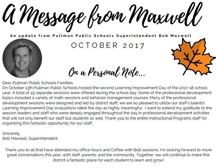 A Message from Maxwell - October 2017 Thumbnail Image