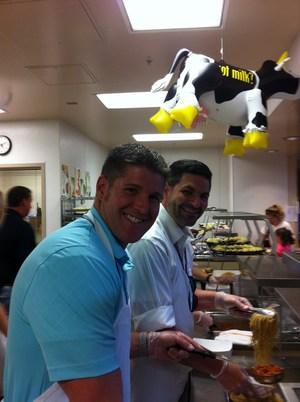 Principal Josh Westermann and Shilloh Hills Principal Assistant Nick Swanson serve up spaghetti