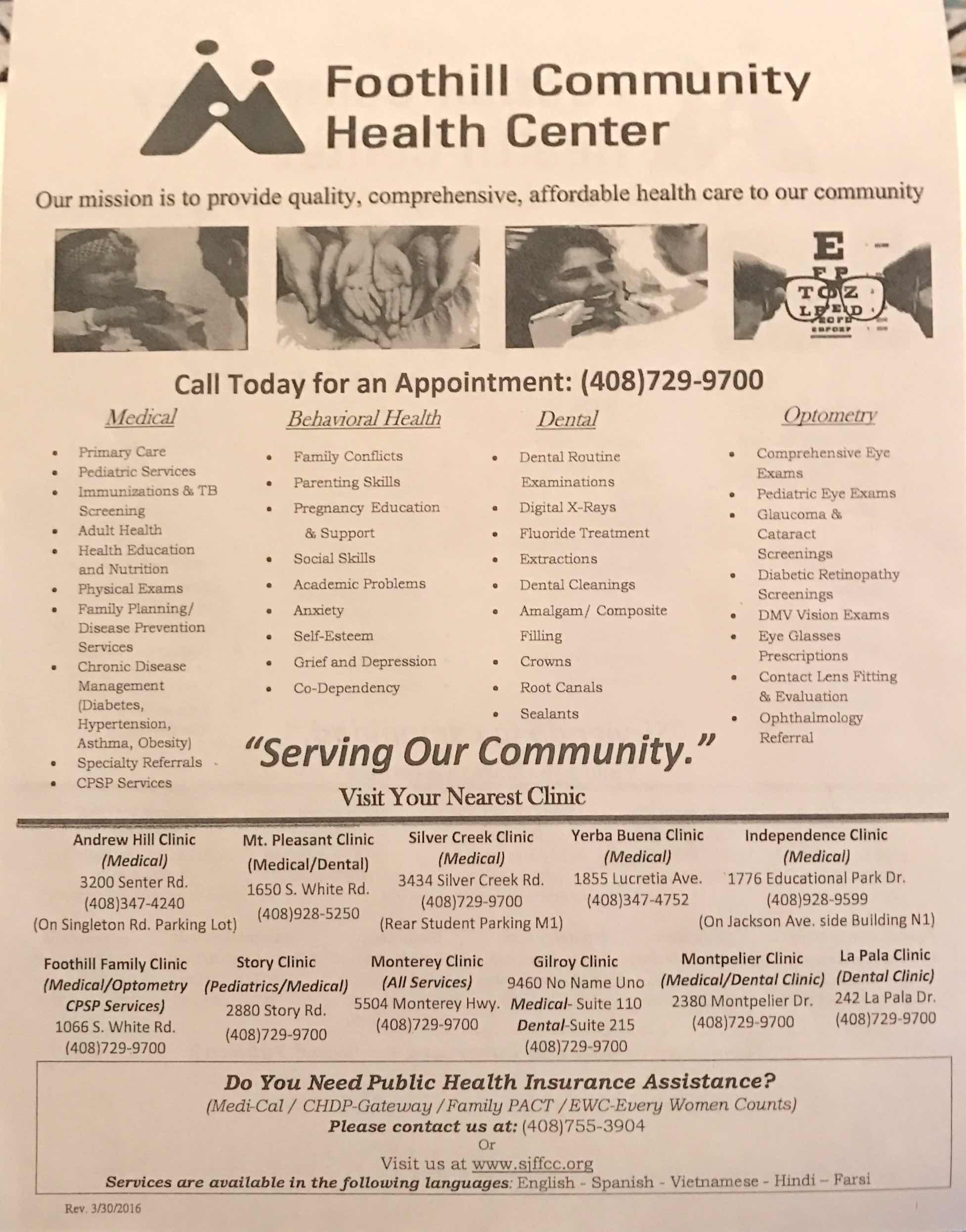 Foothill Community Health Center Flyer 1