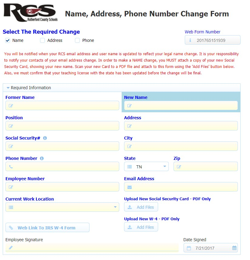 Name And Address Change – Human Resources – Rutherford County Schools