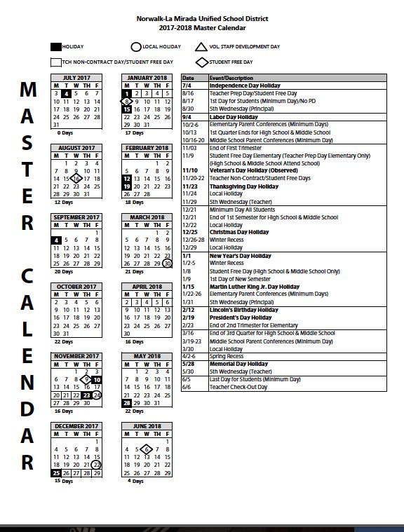 2017-18 Master Calendar Featured Photo