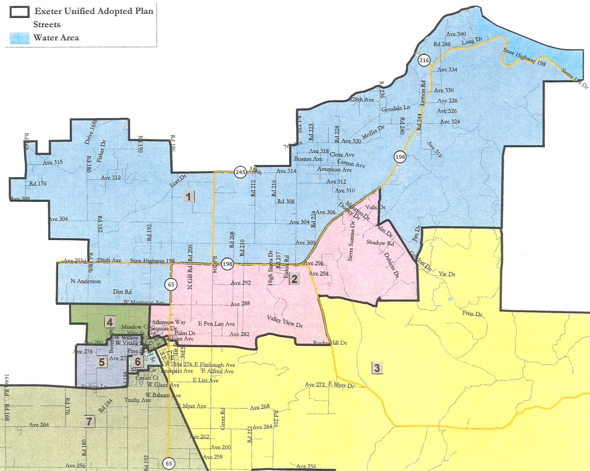 EUSD Executive Board Trustee Areas Map
