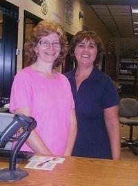 Media Clerk Patty Hayes and Media Specialist Jennifer Newton